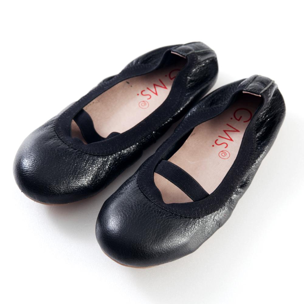 G.Ms.童鞋-金屬羊皮鬆緊口可攜式娃娃鞋(附鞋袋)-質感黑