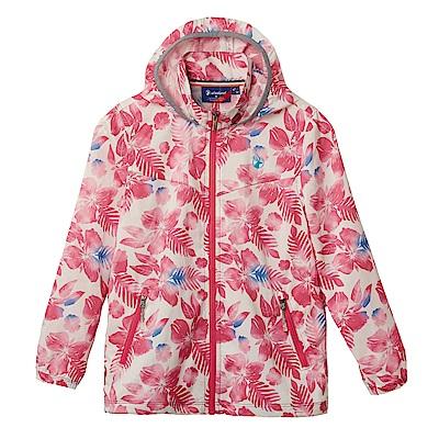 【Wildland 荒野】童抗UV輕薄印花外套-印花粉紅