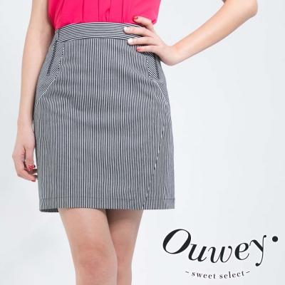 OUWEY歐薇-直線條紋拉鍊牛仔短裙