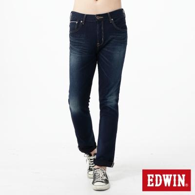 EDWIN 大尺碼 迦績褲內藏紅布邊牛仔褲-男-酵洗藍