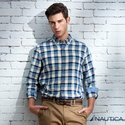 Nautica 經典休閒格紋長袖襯衫-灰藍