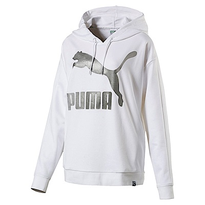 PUMA-女性流行系列經典Logo T7長厚連帽T恤-白色-亞規