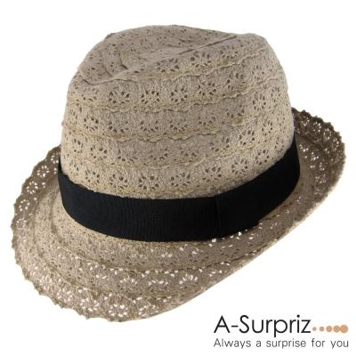 A-Surpriz-洞洞蕾絲布遮陽帽-可可