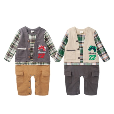 baby童衣 連身衣 假兩件復古格紋爬服47012