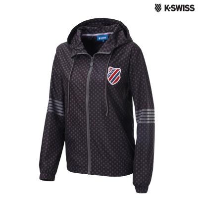 K-Swiss Star Print Windbreaker風衣外套-女-黑