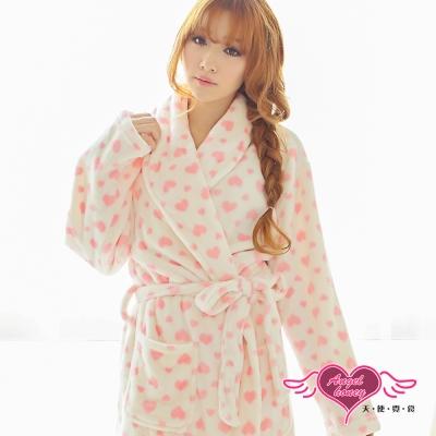 天使霓裳 滿心甜愛 居家柔軟法蘭絨綁帶睡袍(白粉F)
