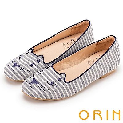 ORIN 俏麗女孩 趣味貓咪條紋布面平底鞋-藍色