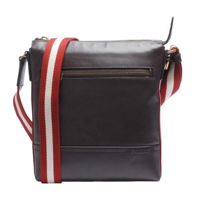 BALLY 經典TUSTON雙色織帶小牛皮直立拉鍊斜背郵差包(棕色)