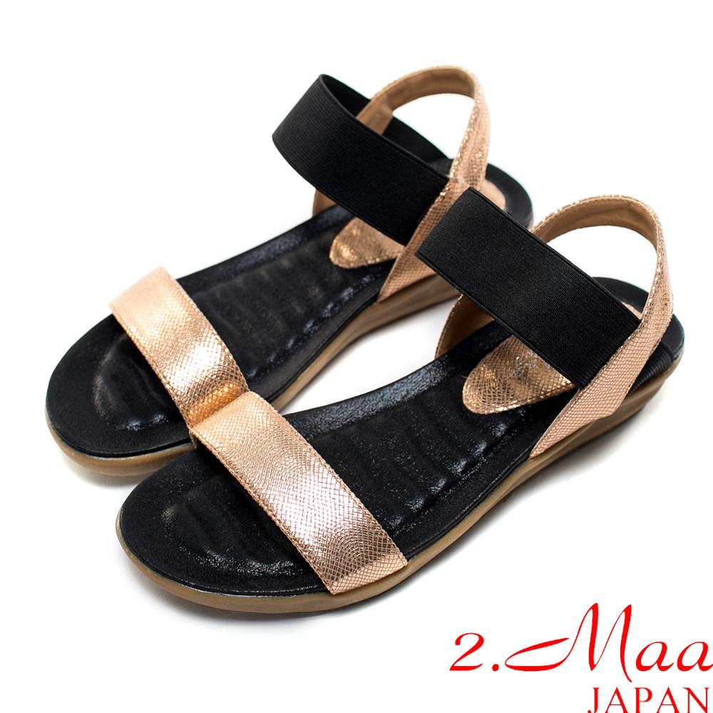 2.Maa-韓風俐落一字造型鬆緊寬帶涼鞋-閃耀金