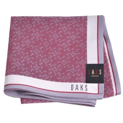 DAKS 圖騰品牌字母LOGO帕領巾(酒紅系)