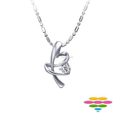 彩糖鑽工坊 9分 愛心蝴蝶結鑽石項鍊 愛連結系列