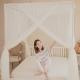 凱蕾絲帝-大空間210*200*200公分加長加高針織蚊帳(開三門)+不鏽鋼支架-米白 product thumbnail 1