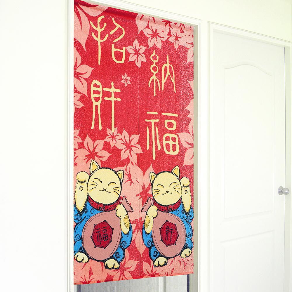 《布安於室》招財貓一片式門簾-紅色