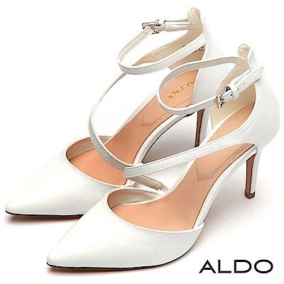 ALDO 原色幾何斜邊鏤空尖頭細高跟鞋~清新白色