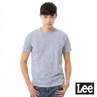Lee 短袖T恤 麻花毛線圖案印刷 -男款(淺紫)