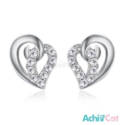 AchiCat 925純銀耳環 幸運女孩 純銀耳針 愛心