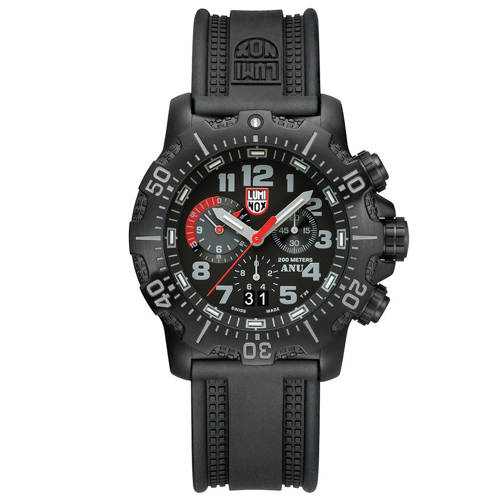 LUMINOX 雷明時 海豹部隊認證ANU系列三眼腕錶-黑x灰時標/45mm