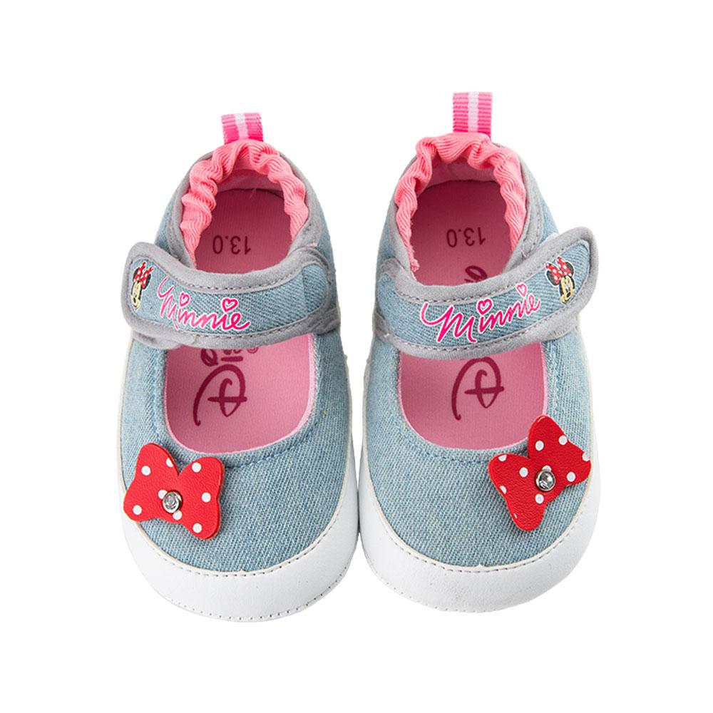 迪士尼米妮牛仔風蝴蝶結造型娃娃鞋-藍
