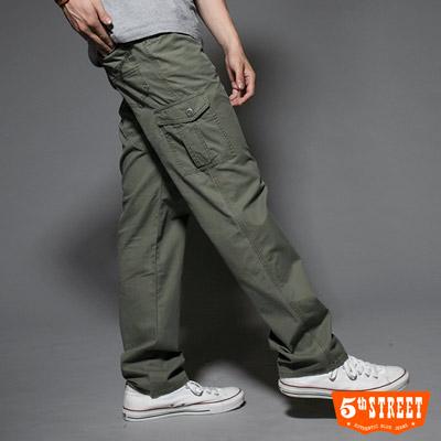 【5th STREET】極致探索 休閒多袋中直筒工作褲-男款(墨綠色)