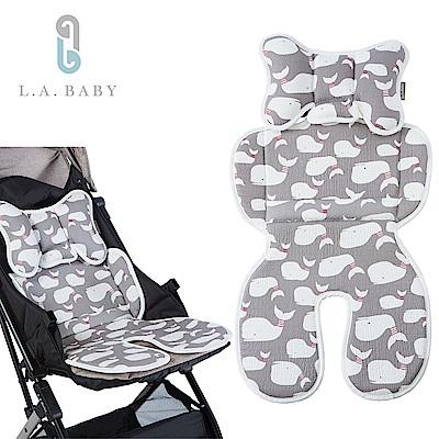 (L.A. BABY) 多功能3D涼感推車汽座餐椅座墊-加長型、頭枕可拆可調 (小白鯨)