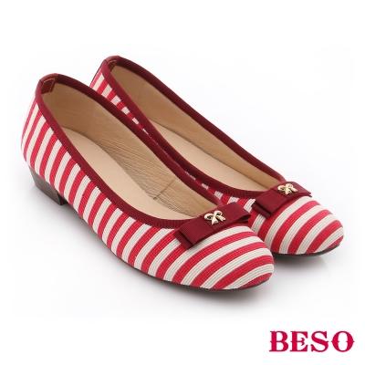 BESO 翻玩時尚生活 真皮軟棉防滑低跟鞋 紅色