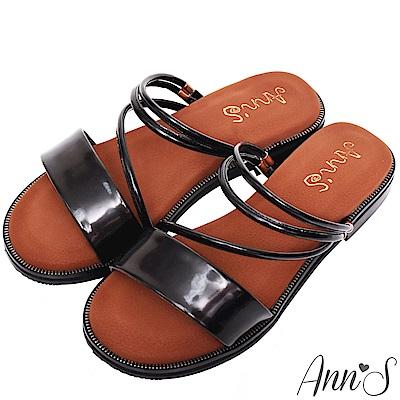Ann'S乾淨簡單-素面兩穿氣墊寬版平底涼鞋-黑