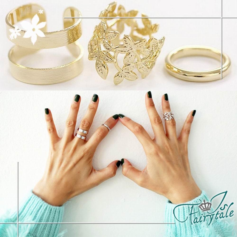 iSFairytale伊飾童話 鏤空落葉 個性金屬戒指三件組 2色可選