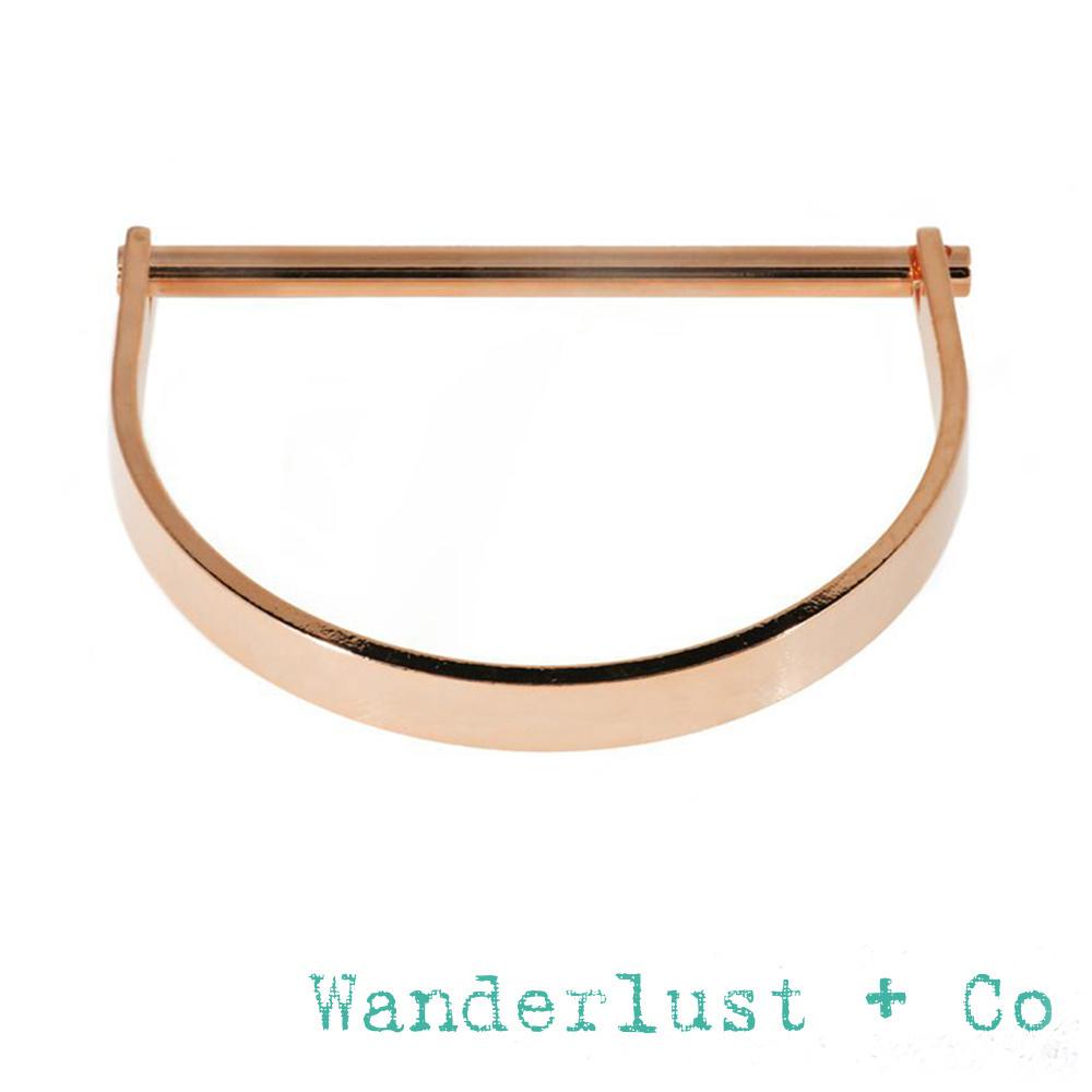 Wanderlust+Co 澳洲品牌 玫瑰金半月形X平衡骨幾何造型手環 BAR