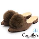 Camille's 韓國空運-毛球麂絨尖頭樂福拖鞋-駝色