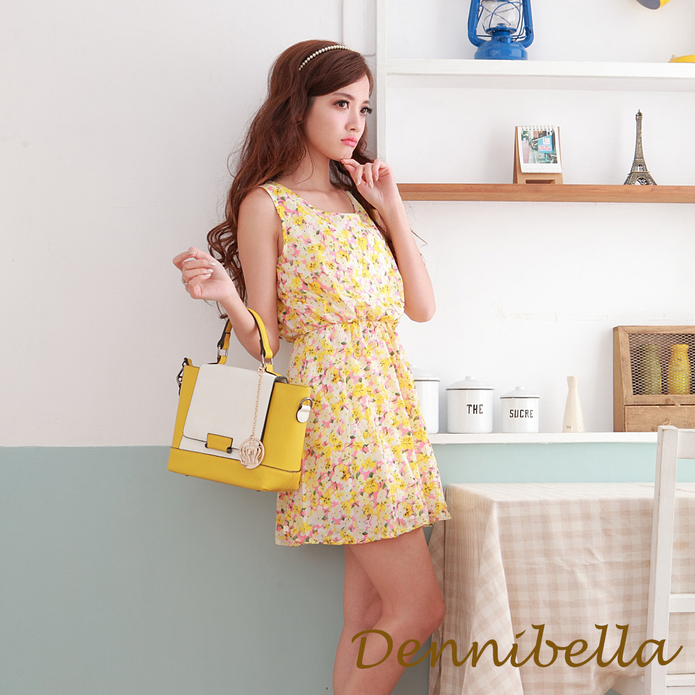 Dennibella 丹妮貝拉 -玩色美學-真皮斜背包-檸檬黃