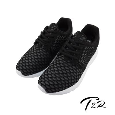 【T2R】韓國空運增高6cm洞洞編織空氣增高鞋-男  經典黑
