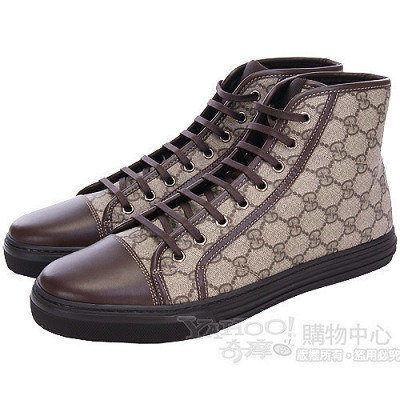 GUCCI GG PLUS NEW咖啡色防水膠質高筒休閒鞋