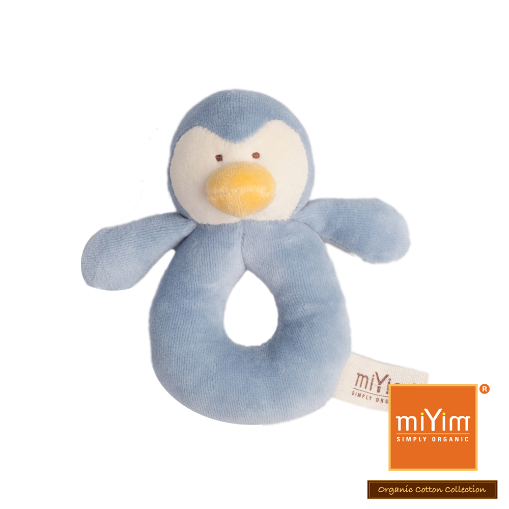 美國miYim有機棉安撫手搖鈴-噗噗企鵝