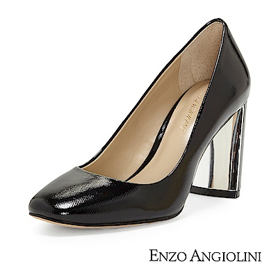 ENZO ANGIOLINI--方頭素面金屬粗高跟鞋-優雅黑