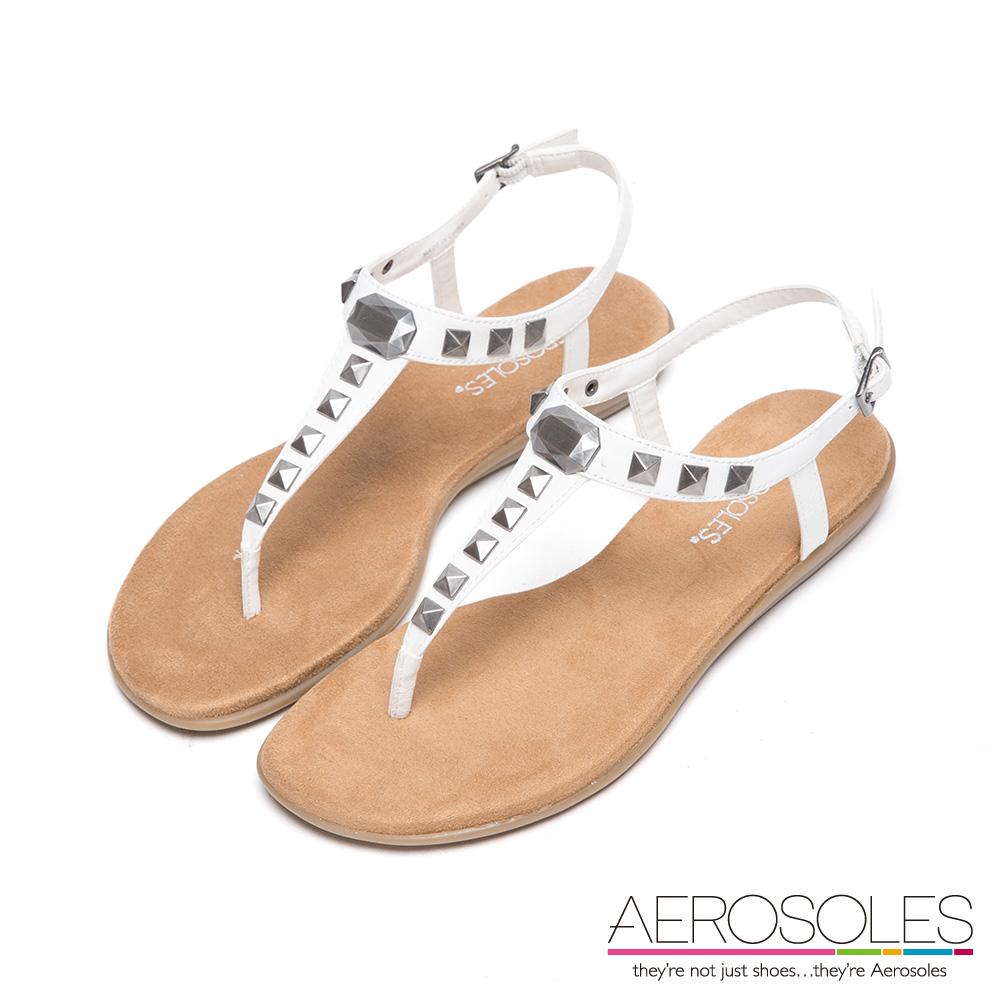 AEROSOLES 原色幾何金屬鉚釘I字繫帶涼鞋~清爽白色