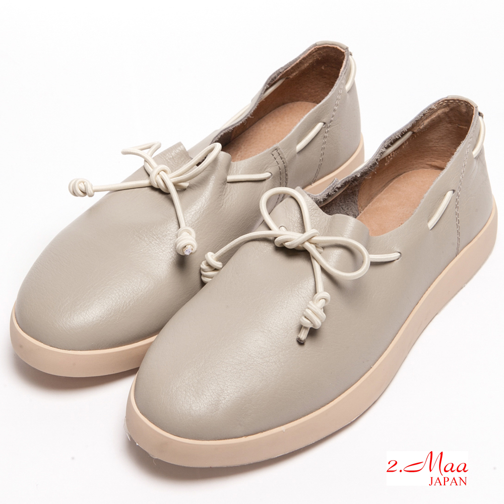 2.Maa-真皮-舒適休閒平底綁帶包鞋-灰