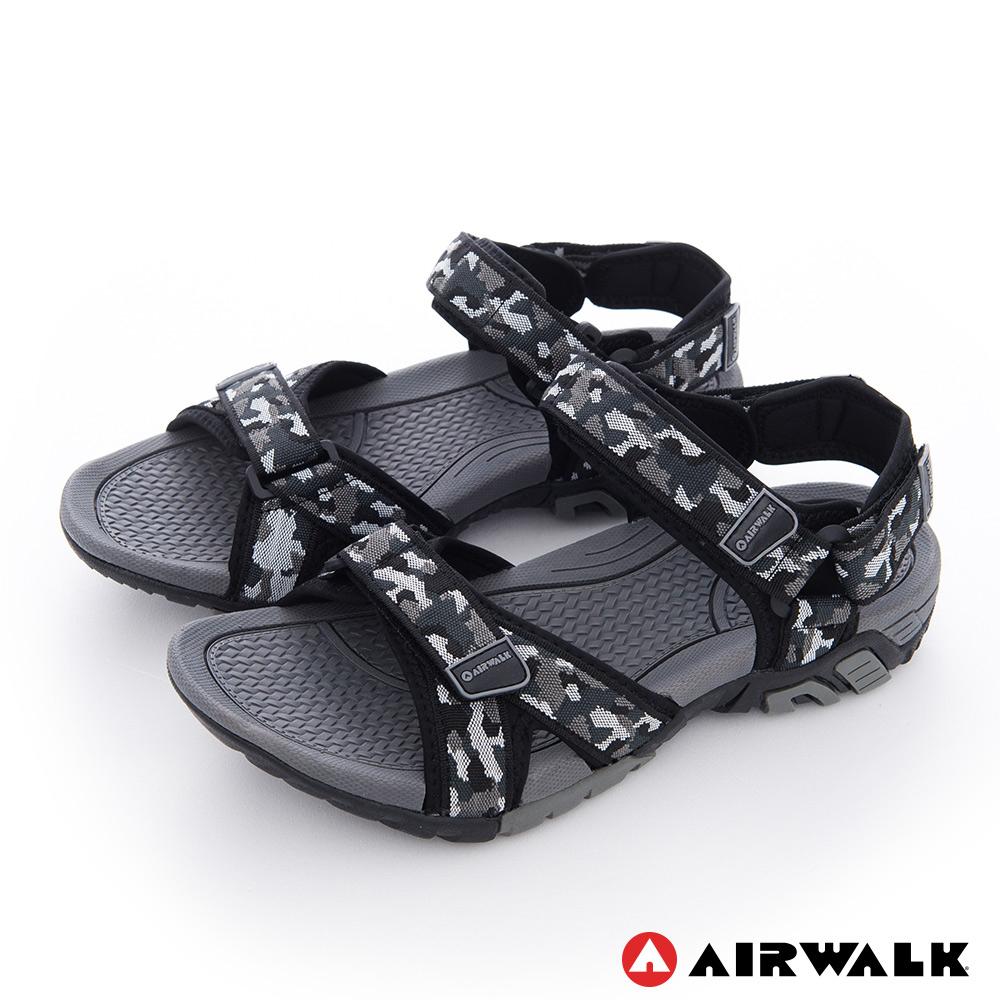 【AIRWALK】小野人 越野戶外輕量防滑涼鞋-黑迷彩
