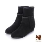 SM-台灣全真皮-3WAYS流蘇麂皮襪套中低楔型短靴-黑色