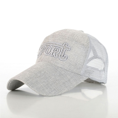 幸福揚邑 防曬透氣速乾夏季時尚百搭戶外運動亞麻網帽遮陽帽棒球帽-淺灰色