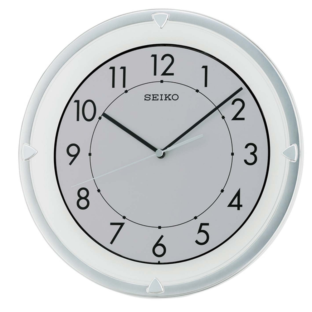 SEIKO 滑動式秒針靜音掛鐘-白/30.4cm