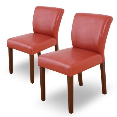 Bernice-托比簡約實木餐椅/單椅(紅色)(二入組合)-42x58x78cm