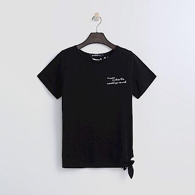 Hang Ten - 女裝 - 綁結短版T恤-黑色