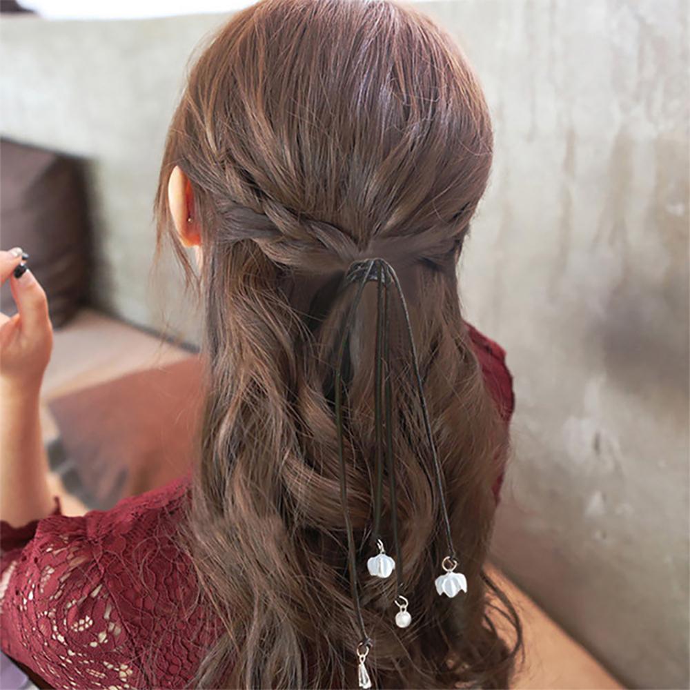 梨花HaNA韓國浪漫唯美真諦長垂飾花朵珍珠髮圈