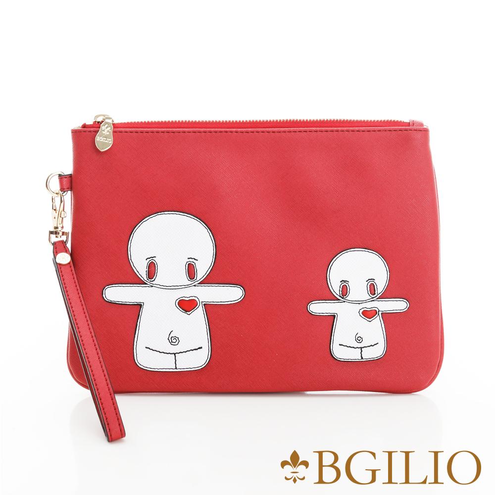 義大利BGilio-俏皮童趣造型萬用包(融情雪人-大款)-紅色2243.002-01