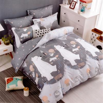 生活提案 純棉涼被床包組四件組-北極熊/加大