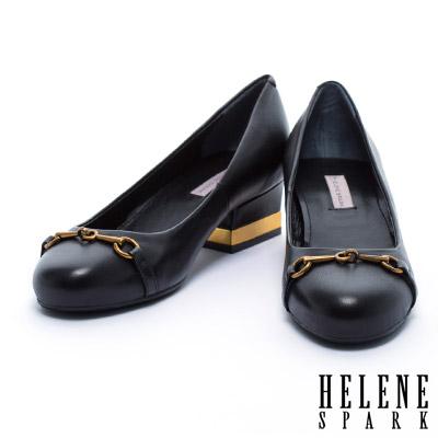 跟鞋 HELENE SPARK 復古風格全真皮圓頭粗跟鞋-黑