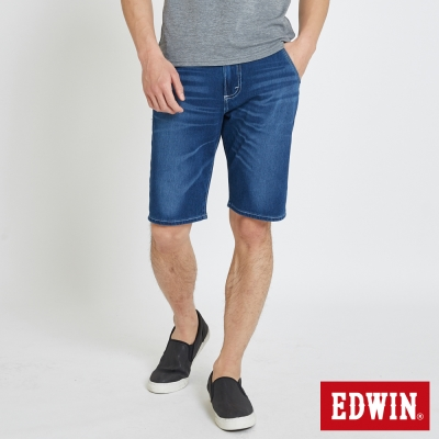 EDWIN 加大碼迦績褲JERSEY棉感短褲-男-中古藍