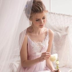 羅絲美睡衣 - 花仙子細肩短版洋裝睡衣 (浪漫粉)