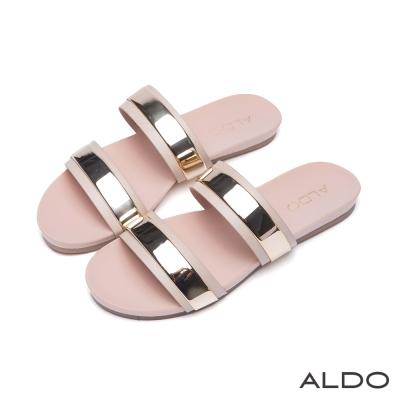 ALDO-愛戀天使光幾何金屬鏤空粗低跟涼鞋-氣質裸