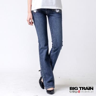 BIG TRAIN 伸縮寬腰頭靴型褲-女-中深藍